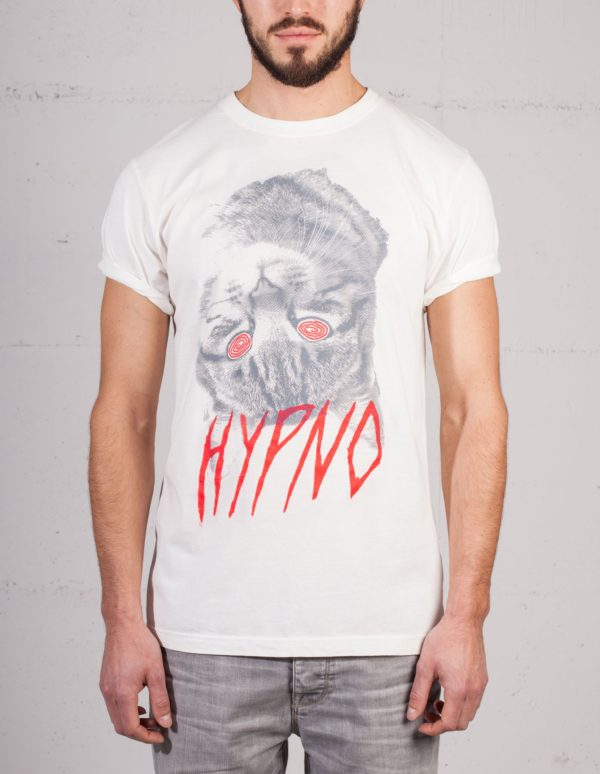 Hypno Cat t-shirt by Daniel Strohhäcker, front view